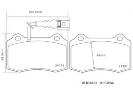 Image result for dimensions of brake  pads
